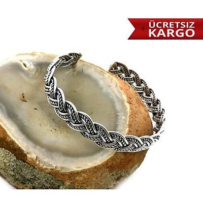 Örgü Model 925 Ayar Gümüþ Kelepçe Erkek Bileklik,(STOK KODU: 20173017)