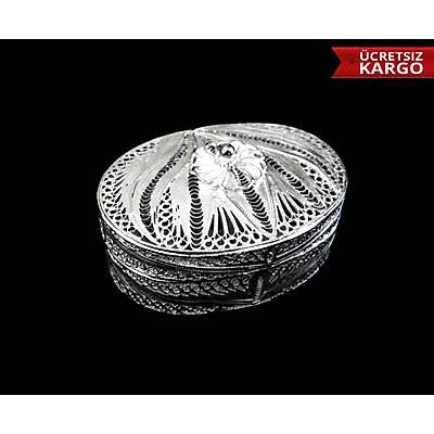 Telkari El İşçiliği 925 Ayar Gümüş Elips Kutu