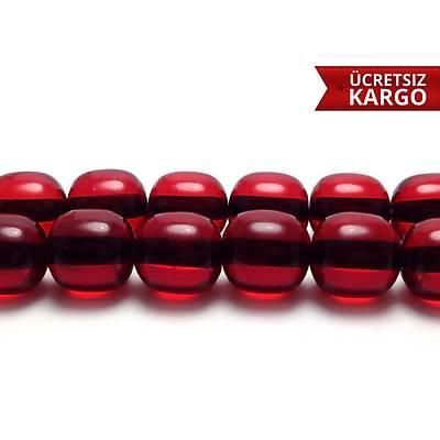 Kýrmýzý Renkte Toz Kehribar yumurta  Kesim Tespih  (STOK KODU: 20138123)