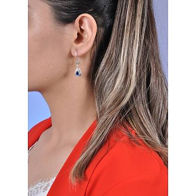 Mavi Taşlı Telkari Gümüş Bayan Küpe (kod 2020728B)