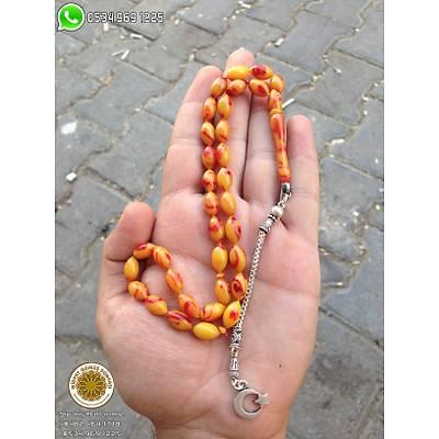 Ayyýldýz Kamçýlý Hareli Sýkma Kehribar Tesbih (STOK KODU: 20132322)