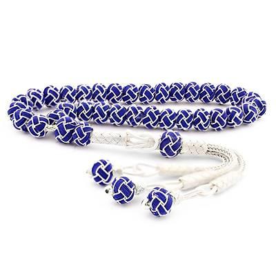 1000 Ayar Mavi Beyaz El Örmesi Bilek Boy Gümüþ Kazaziye Tesbih (STOK KODU: 20132549)