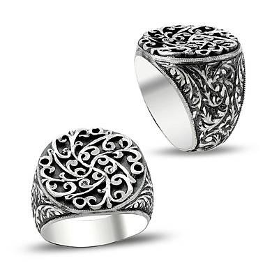 Erzurum El İşi Gümüş Erkek Yüzük (STOK KODU: 20129423)