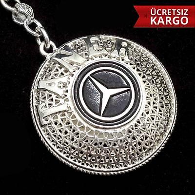 Mercedes amblemli 925 ayar gümüþ anahtarlýk (STOK KODU:20137688)