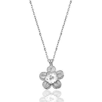 Çiçek Model Telkari Gümüþ Bayan Kolye (Kod: 2020424C)