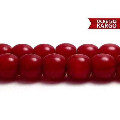 Kýrmýzý Renkte Toz Kehribar Küre Kesim Tespih  (STOK KODU: 20138119)