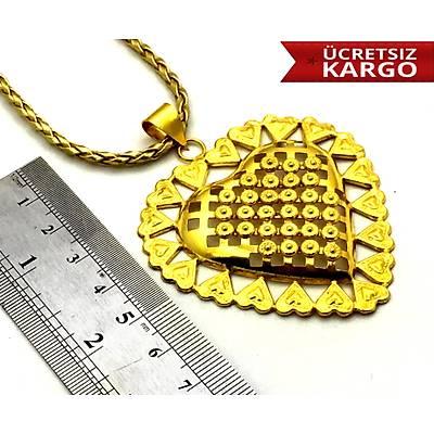 925 Ayar Altýn Kaplama Kalp Model Gümüþ Bayan Kolye,(STOK KODU: 20171029)