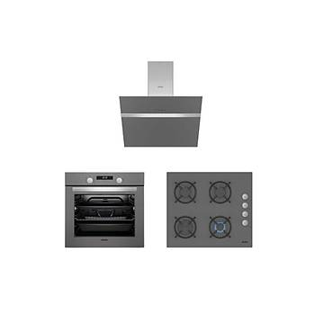 Simfer 8 Fonksiyon Silver Cam Ankastre Set (7335 Fýrýn + 3537 Ocak + 8613 Davlumbaz)