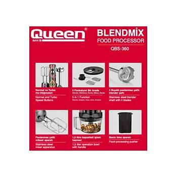QUEEN QBS-360G BLENDMIX PRO 5LÝ BLENDER SET R.GOLD
