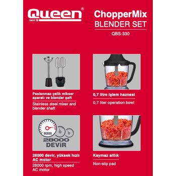 QUEEN QBS-330G CHOPPERMIX BLENDER SET GOLD