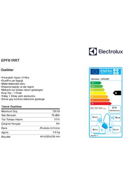 Electrolux EPF61RRT Power Force ABAA 76db Toz Torbalý Elektrikli Süpürge