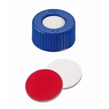 9MM CLOSURE: PP SHORT THREAD CAP, BLUE, CENTRE HOLE; SÝLÝCONE WHÝTE/PTFE RED, 55° SHORE A, 1.0MM