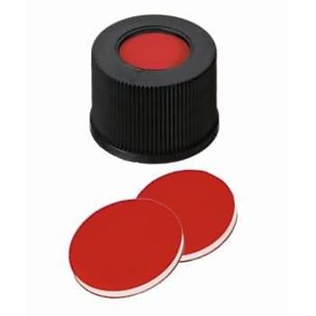 10MM COMBÝNATÝON SEAL: PP SCREW CAP, BLACK, CENTRE HOLE, 10-425 THREAD; PTFE RED/SÝLÝCONE WHÝTE/PTFE RED, 45° SHORE A, 1.0MM