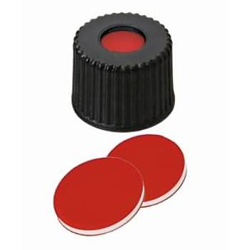 8MM COMBÝNATÝON SEAL: PP SCREW CAP, BLACK, CENTRE HOLE, 8-425 THREAD; PTFE RED/SÝLÝCONE WHÝTE/PTFE RED, 45° SHORE A, 1.0MM