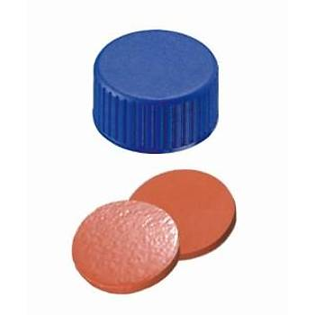 9MM COMBÝNATÝON SEAL: PP SHORT THREAD CAP, BLUE, CLOSED TOP; NATURAL RUBBER RED-ORANGE/TEF TRANSPARENT, 60° SHORE A, 1.0MM