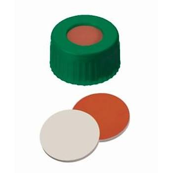 9MM COMBÝNATÝON SEAL: PP SHORT THREAD CAP, GREEN, WÝTH CENTRE HOLE; REDRUBBER / PTFE BEÝGE, 45° SHORE A, 1,0MM