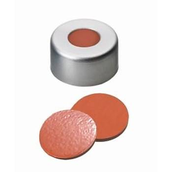 11MM COMBÝNATÝON SEAL: ALUMÝNÝUM CAP, CLEAR LACQUERED, CENTRE HOLE; NATURAL RUBBER RED-ORANGE/BUTYL RED/TEF TRANSPARENT, 45° SHORE A, 1.0MM 100/pk