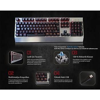 RampageTinker Aydýnlatmalý Oyuncu Pro Q Multimedia Mekanik Klavye