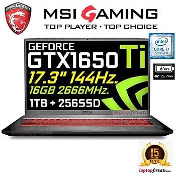 MSI 9SCSR-432XTR i7-9750H 16GB 1TB+256GB SSD GTX1650Ti 17.3 FHD FDOS