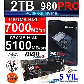 Samsung 980 Pro 2TB 7000MB-5100 MB/sn NVMe M.2 SSD MZ-V8P2T0BW