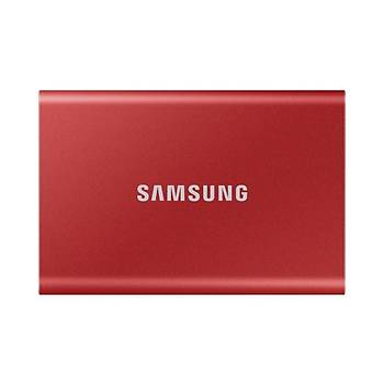 Samsung T7 2TB 1050MB/1000MB USB 3.2 Gen2 Taþýnabilir SSD Metalik Kýrmýzý MU-PC2T0R/WW