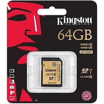 Kingston 64GB SDHC C10 UHS-I SDA10/64GB Hafıza Kartı