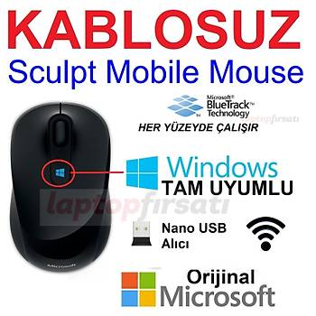 Microsoft Sculpt Mobile Siyah Mouse (43U-00003)