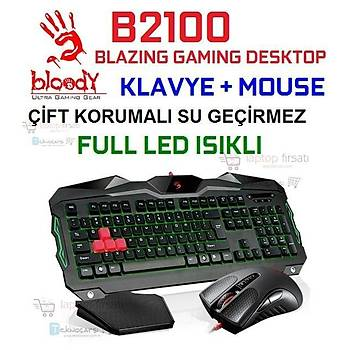 BLOODY B2100 IÞIKLI OYUNCU KLAVYE + 3200DPI GAMING MOUSE