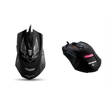 Rampage KM-R5 3 Farklý Aydýnlatmalý Siyah Oyuncu Klavye Mouse Set