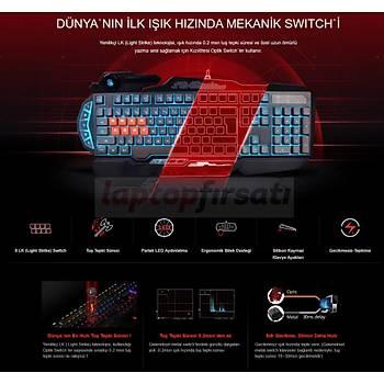 Bloody B318 8Tuþ Mekanik+Silikon 0.2Ms Neon Iþýklý Oyuncu Klavye