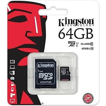 Kingston 64GB MicroSDHC C10 UHS-I 45MB/s Hafýza Kartý SDC10G2/64