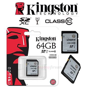 Kingston 64GB Class10 UHS-I SDXC Hafıza Kartı 45MB/s SD10VG2/64GB