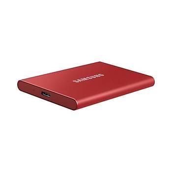 Samsung T7 1TB 1050MB-1000MB/s USB 3.2 Gen2 Taþýnabilir SSD Metalik Kýrmýzý MU-PC1T0R/WW