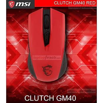 MSI Clutch GM40 Kýrmýzý Oyuncu Mouse
