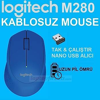 ????Logitech M280 Kablosuz Mavi Mouse 910-004290