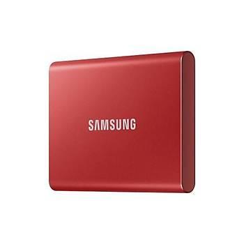Samsung T7 500GB 1050MB-1000MB/s USB 3.2 Gen2 Taþýnabilir SSD Metalik Kýrmýzý MU-PC500R/WW