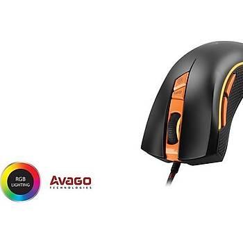 Rampage SMX-R9 USB 1000-3200DPI RGB Iþýklý Oyuncu Mouse Siyah/Turuncu