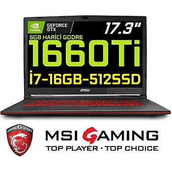 MSI GL73 8SD-063XTR i7 8750H 16GB 512SSD GTX1660Ti Freedos 17.3