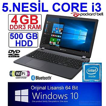 PACKARD BELL CORE i3-5005 4GB 500GB ORIJINAL WINDOWS10 15.6