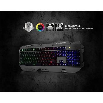 Rampage KB-R74 Gökkuþaðý Aydýnlatmalý USB Oyuncu Q Multimedia Klavye