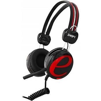 Snopy SN-98A Siyah/Kýrmýzý Kulak Üstü Kulaklýk