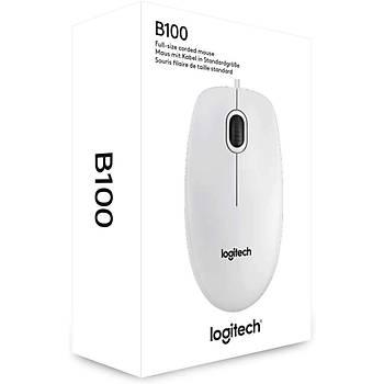 Logitech B100 Kablolu USB Mouse - Beyaz 910-003360