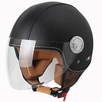 Sway 701DR Open Face Ýtalyan Stil Deri Siyah Kask