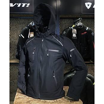 Vexo Taycan Soft Shel Motosiklet Montu Siyah (Kapüþonlu)