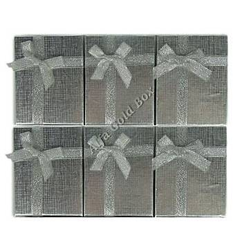 Kolyelik ve Küpelik Kutusu - Karton Gümüþ Fiyonklu