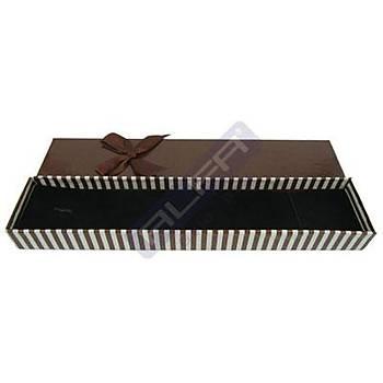 Bileklik Kutusu - Karton Çizgili Fiyonklu