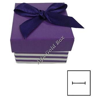 Karton Çizgili Fiyonklu Yüzük Kutusu