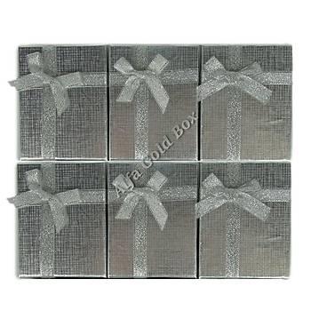 Fiyonklu Üçlü Set Kutusu - Karton Gümüþ
