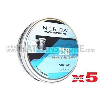 Norica Match 4,5 mm 5 Paket Havalý Tüfek Saçmasý