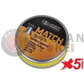 JSB Diabolo Match Middle 4,50 mm 5 Paket Havalý Tüfek Saçmasý (8,02 Grain - 2500 Adet)